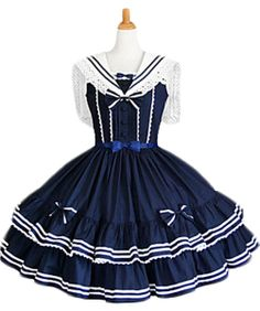 $110.00  TOMSUIT Cotton Blue and White Sailor Sleeveless Tiered School Lolita Dress: Clothing
