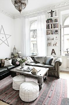Image result for bohemian chic black and white living room