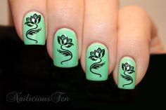 Tattoo Style Lotus Flower Nail Wrap Art Water Transfer by azzai.