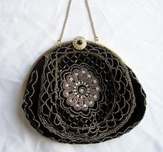Black Velvet Evening Bag1940s Hand Beaded by Latrouvaille on Etsy, $38.00