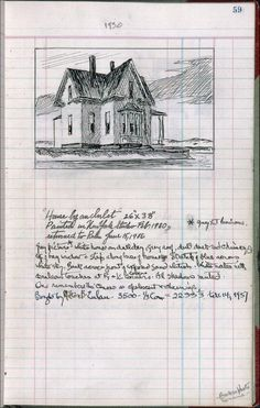 Edward Hopper's Ledger page 58, 1950 House by ,,,