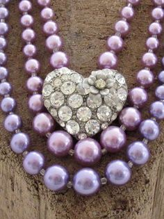 Necklace of Vintage Purple Beads and Rhinestone Heart