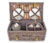 brown picnic basket -- love!  @Avril Roberts  comes filled with vintage linens and service for two.