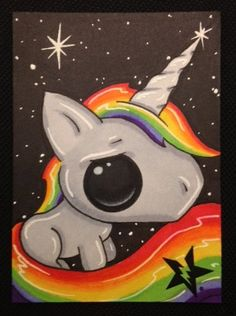 Sugar Fueled Rainbow Unicorn Pony lowbrow creepy by Sugarfueledart, $4.00... looks a little hard but so so cute