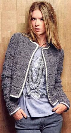 Short Knit jacket in Chanel style. Description of the scheme Crochet Coat, Knitted Coat, Crochet Clothes, Diy Tricot Gilet, Knit Jacket, Knit Cardigan, Crochet Fashion, Knitting Designs, Hand Knitting