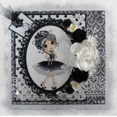 Monochromatic card by Celine using a Sherri Baldy's 'Bella Blossom' image