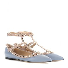 Valentino - Rockstud leather ballerinas - Valentino's 'Rockstud' ballerinas are equal parts elegant and edgy. Featuring signature stud detailing and crafted from pastel-blue leather, this is a style that will transition perfectly from day to night. The flat design and soft leather insole keep them comfortable for 24-hour wear. seen @ www.mytheresa.com