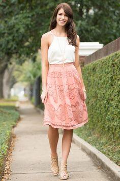 Lola Lace Midi Skirt #francescas