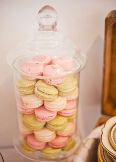 Macarons at a vintage Parisian baby shower  party! See more party planning ideas at CatchMyParty.com!
