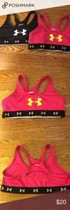 Youth XL Under Armour Bra Set Black and pink included Excellent condition  PERFECT for gymnastics (under leo for tween/teen) or dance  Stays in place and keeps you together but doesn't give too much added cushion or support  Elastic band at bottom is very comfortable and does not slip up Youth XL Under Armour Shirts & Tops