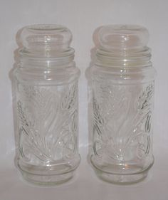 """Vintage Planters Peanuts 1982 Clear Glass 9"""" Nuts Jar ~ Wheat Design ~ Round Top #Planters"""