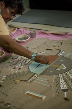 Walking Thunder Navajo medicine woman sand painting ceremony Two Gray Hills Arizona