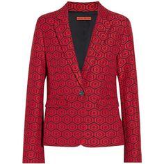 Alice + Olivia Alice + Olivia Elyse printed jacquard blazer (735 BRL) ❤ liked on Polyvore featuring outerwear, jackets, blazers, blazers/jackets, red, jacquard blazer, red jacket, red blazer jacket, red slim fit blazer and jacquard jacket