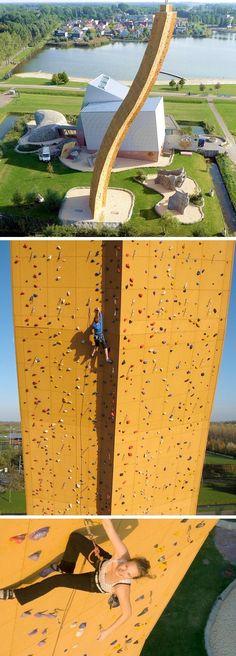WORLD'S HIGHEST MAN-MADE ROCK CLIMBING WALL - CORKSCREWING UP 121 FEET IN BJOEKS, NETHERLANDS