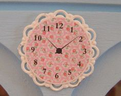 "DOLLHOUSE MINIATURE - Only 1.25"" Inch - Provence Rose Wall CLOCK - Shabby Chic Home - Cupcakes"