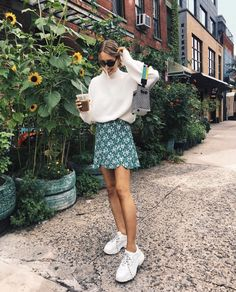 oversized-knit-sweaters-for-fall-mini-green-skirt-white-sneakers-city-outfit-city-fall-green-knit-mini-outfit-oversized-skirt-sneake/ SULTANGAZI SEARCH Fashion Moda, Look Fashion, Autumn Fashion, Womens Fashion, Fashion Photo, Trendy Fashion, Spain Fashion, City Fashion, Feminine Fashion