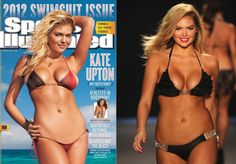 Kate Upton. Curves reduced, and body resurfaced below the waist in order present a smooth belly, complete with six-pack and a strangely absent nether region.