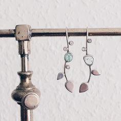 Har fundet de her gamle ørehængere i gemmerne i dag #diamond #silver #aquamarine