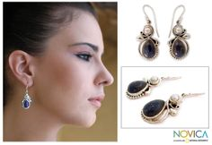 Women's Lapis Lazuli Pearl and Sterling Silver Earrings - Midnight Moon | NOVICA