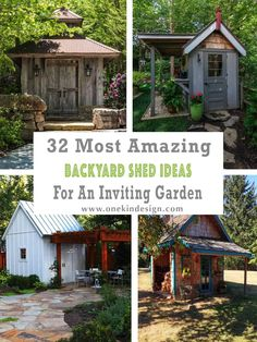 32 Most Amazing Backyard Shed Ideas For An Inviting Garden Cozy Backyard, Backyard Sheds, Rustic Gardens, Outdoor Gardens, Shed Exterior Ideas, Garden Storage Shed, Storage Sheds, Wood Storage, Contemporary Sheds