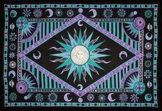 Handmade Cotton Celestial Sun Moon Star Tapestry Spread Twin Purple Green 70x104