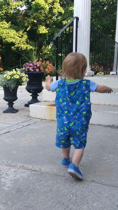 bda0e64188d 3-6 Months Infant Short Overalls or sunsuit in Blue Froggin fun print  fabric -