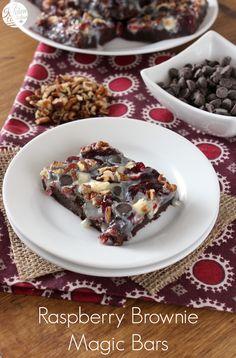Raspberry Brownie Magic Bars l www.a-kitchen-addiction.com