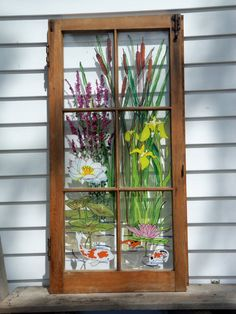 Painted Vintage Window Water Garden by 1HeavnCreations on Etsy