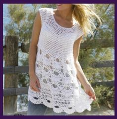 Love this lacey crocheted summer tunic; check it out on onecraftygal.com. It's just one of the beautiful summer top patterns being featuring, check them all out. #onecraftygal #craft #crafty #halloween #floral #crochet #knitting #quilting #crossstitch #embroidery #paint #decorations #applique #essentialoils #doterra #food
