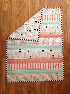 Boho Feather Baby Quilt Coral Mint and Gold Baby Quilt by Nooches