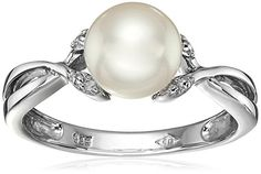 Sterling Silver, Freshwater Cultured Pearl, and Diamond Ring, Size 7 *** Find out more about the great product at the image link.