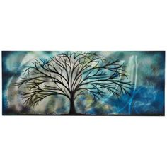 "Moonlight Serenade 48"" Wide Landscape Metal Wall Art -"