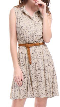 6105a6ab0cc Women s Button Closure Upper Elestic Waist Sleeveless Printed Shirt Dress  with Belt Blouse Tops Light Blue