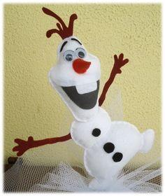 *****O PESO COM TULE NÃO ESTA INCLUÍDO*****    Boneco em feltro Olaf para confecção de enfeites ou lembrancinhas de festa.    Tamanho aproximado 20 cm.    Produto totalmente artesanal. R$ 10,60