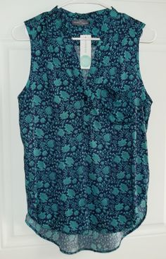 """March 2016 Stitch Fix. Market & Spruce Mori Henley Top in Navy/Teal, it's 100% Soft Rayon, hi lo style measuring 25.5"""" in front, 28.5"""" in the back. https://www.stitchfix.com/referral/4292370"""