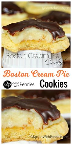 The delicious flavor of Boston Cream Pie in a soft cakey cookie! #cookies