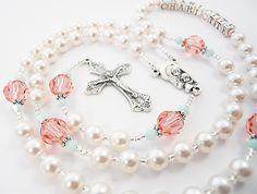 Personalized Swarovski Rosary Beads in Coral por RosaryGardenCathy