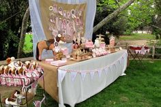 pink & burlap pony birthday party: beautiful outdoor set-up