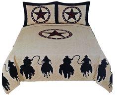 3pc western texas star quilt set new