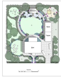 Garden plan with a large circular lawn interrupted by planting, paving and ponds.