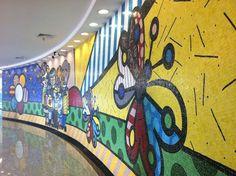 Glass tile mural, Instituto do Cancer de Sao Paulo, Brazil (Romero Britto)