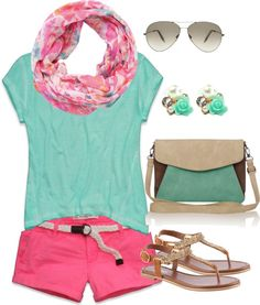 """Cute casual summer outfit"" minus scarf add statement necklace- lord knows girls in AL can't wear scarves in summer!!"