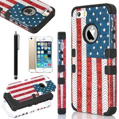 iPhone 5S Case, Pandamimi ULAK(TM) Fashion Pattern Hybrid High Impact Soft TPU + Hard PC Case Cover for Apple iPhone 5S and iPhone 5 with Screen Protector and Stylus (USA+Black) ULAK http://www.amazon.com/dp/B00KD1U2RM/ref=cm_sw_r_pi_dp_l5Swub1897W0K