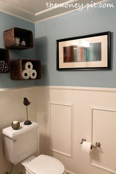 Turn Baskets Into Open Shelves ::   Great for my powder room!