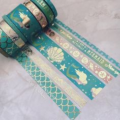 Aqua and Gold Mermaid Washi Tape Set Cool School Supplies, Craft Supplies, Washi Tape Crafts, Washi Tapes, Bullet Journal Washi Tape, Cute Stationery, Stationary, Copics, Filofax
