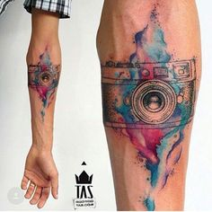 #tatoo #aquarela #photograf #camera #beautiful #tatuagem