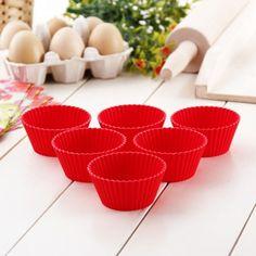 Foremki silikonowe do muffinek SILIKOMART RED 6 szt.