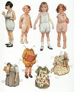 vintage paper dolls - canvas art for kids room
