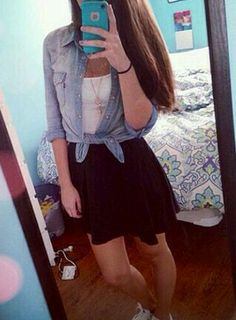 Denim top and skater skirt..