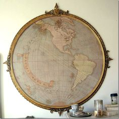 Antique Map in a round frame.  I absolutely love it, but I'm curious, where's the other side of the world?